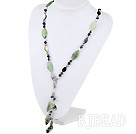 Y Shape Pearl Crystal and Serpentine Jade Necklace