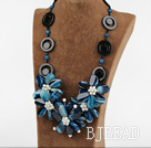 exquisite 23.6 inches white pearl blue agate flower necklace under $ 40