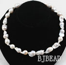 Big Freshwater Nucleus Pearl Necklace with Heart Shape Clasp
