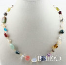 17.7 inches multi color gemstone necklace with lobster clasp