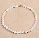 Best Mother Gift Graceful 10-11mm Natural Smooth White Pearl Party Necklace
