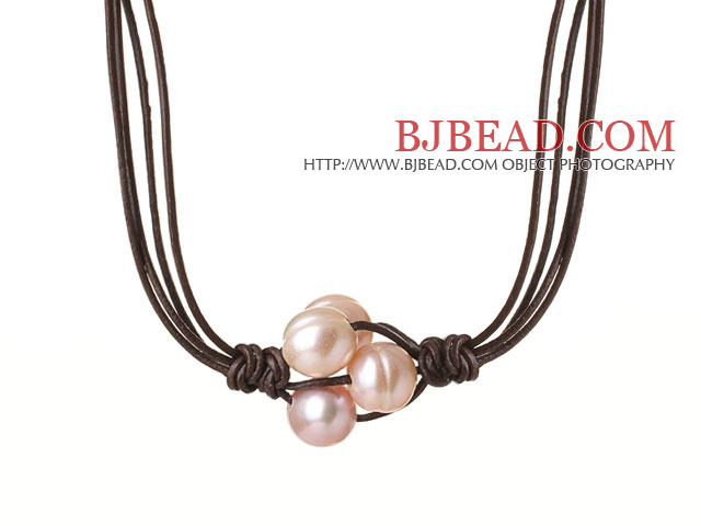 Fashion Simple Design 10-11mm Flower Shape Pink Pearl Beads with Dark Brown Leather Necklace