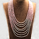 Multi Strands Multi Layered 4-5mm Pink and White Glass Seed Necklace