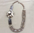 17.5 inches black agate and phoenix stone necklace with lobster clasp