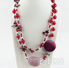 47.2 inches long style crystal and red agate necklace