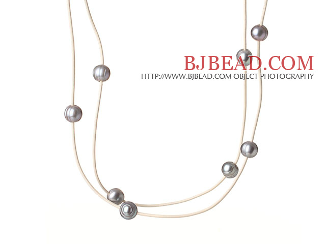 Long Simple Style 10-11mm Grey Freshwater Pearl Beads Leather Necklace