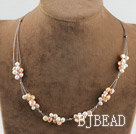 bridal jewelry 17.7 inches pink and white pearl necklace