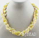 Multi Strand White Freshwater Pearl and Lemon Stone Necklace with Moonlight Clasp under $30