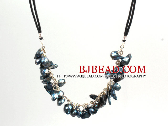New Arrival Blue Gray Color Teeth Shape Pearl Necklace with Lobster Clasp