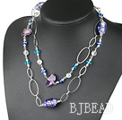 39.4 inches fashion long style amethyst colored glaze necklace