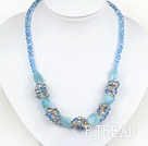 marvelous blue crystal and aquamarine gemstone necklace