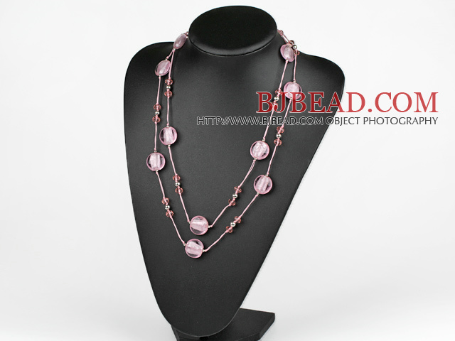 47.2 inches long style pink crystal and colored glaze necklace