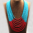 Multi Strands Multi Layered 4-5mm Blue and Red Plastic Seed Necklace