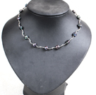 17.7 inches black and white crystal necklace