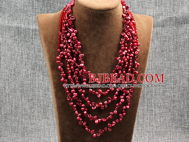 Elegant Five Layer Natural Red Rebirth Pearl Crystal Party Necklace