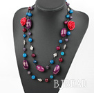 47.2 inches faceted agate and amethyst necklace with red flower