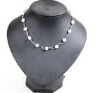 Popular Style Potato Shape Natural White Freshwater Pearl Necklace With Alloyed Crooked Bar