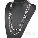51.2 inches white pearl rose quartze necklace