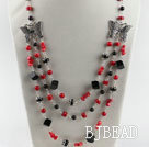 red coral black agate butterfly charm necklace with extendable chain under $ 40