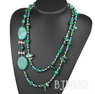 47.2 inches green color crystal pearl and agate necklace