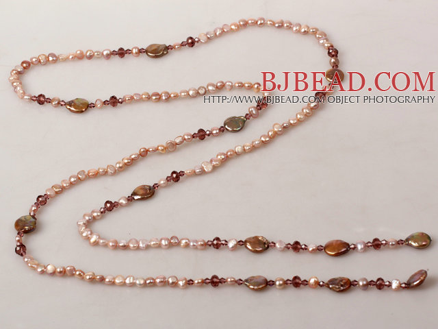 Natural Purple Series Freshwater Pearl Crystal Long Necklace
