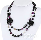 39.4 inches faceted black and purple agate necklace with flower