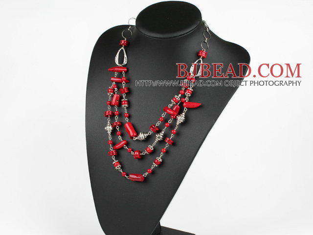 23.6 inches red coral tibet silver beads necklace with extendable chain
