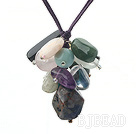 19.7 inches multi color gemstone necklace with extendable chain under $4