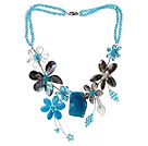 2013 Summer New Design Blue Series Blue Crystal and Abalone Shell Flower and Crystallized Agate Pendant Necklace