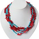 Multi Strands Red Coral and Blue Turquoise Necklace