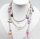 Long Style White Freshwater Pearl and Multi Color Shell Necklace (Can Also Be Waist Chain)