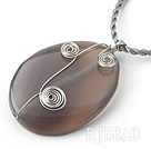 Simple Style Oval Shape gemstone Pendant Necklace with grey Thread( Random colors )