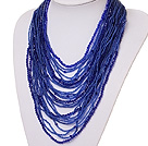 beautiful multi strand 2-4mm dark blue manmade crystal necklace
