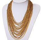 admirably multi strand 2-4mm yellow manmade crystal necklace