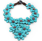 2013 Summer New Design Burst Pattern Turquoise Flower Big Style Necklace under $ 40