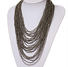 hot style vogue multi strand 2-4mm grey manmade crystal necklace
