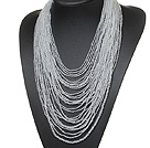 stunning multi strand 2-4mm white crystal necklace