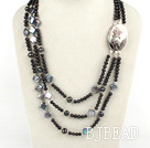 favourite multi strand black pearl button pearl necklace with beauty clasp