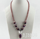 18.1 inches purple color crystal and agate pendant necklace