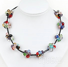 cluster style colorful crystal necklace with extendable chain
