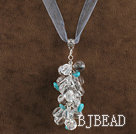 19.7 inches clear crystal and turquoise necklace pendant with ribbon