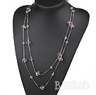 favourite 23.6 inches long style pink crystal necklace