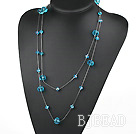 favourite 23.6 inches long style blue crystal necklace