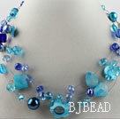 hot new style 17.7 inches blue crystal and shell necklace under $5