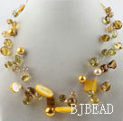 hot new style 17.7 inches yellow crystal and shell necklace under $ 40