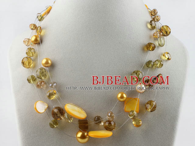 hot new style 17.7 inches yellow crystal and shell necklace