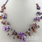 hot new style 17.7 inches purple crystal and shell necklace under $ 40