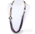 27.6 inches purple crystal gray agate rhinestone ball necklace