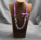 Popular Purple Series Amethyst Multi Color Pearl Crystal Necklace With Purple Suede Cord