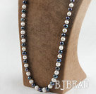 29.5 inches 10-11 mm white and black fresh water pearl necklace